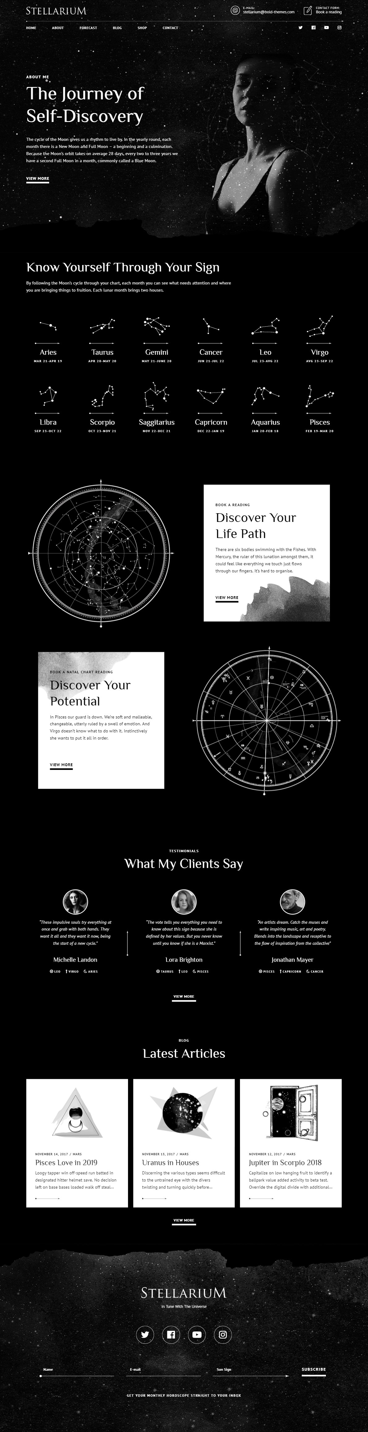 Stellarium WordPress theme for astrologers | BoldThemes / Premium