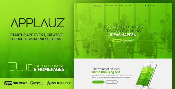 applauz wordpress theme for software, startup and digital preview