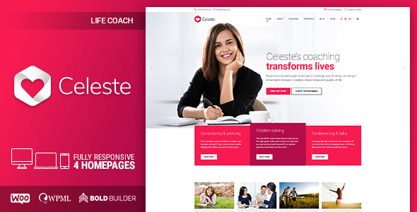 celeste wordpress theme for life coach and therapist preview image