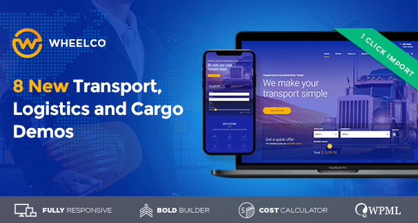 wheelco wordpress theme for cargo transportation logistics preview image