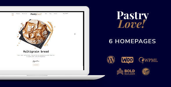 pastry love wordpress theme for bakery, patisserie and cake shop websites preview