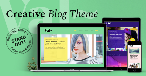 val creative blog wordpress theme preview image