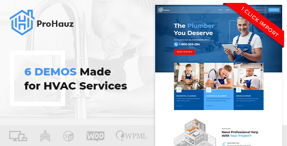 ProHauz WordPress Theme for HVAC services
