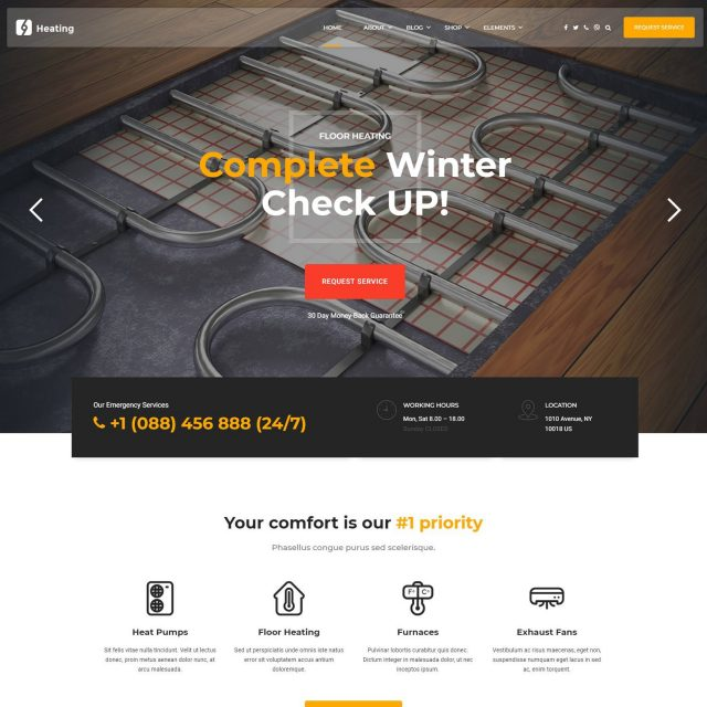 wordpress theme for home improvement services heating
