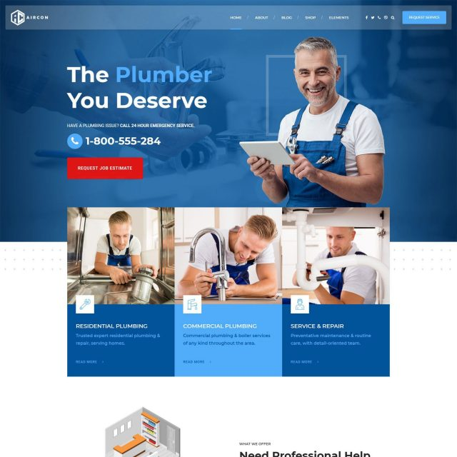 wordpress theme for home improvement services plubmer