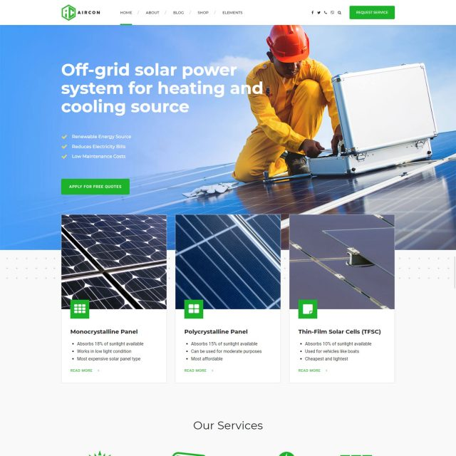 wordpress theme for home improvement services solar system