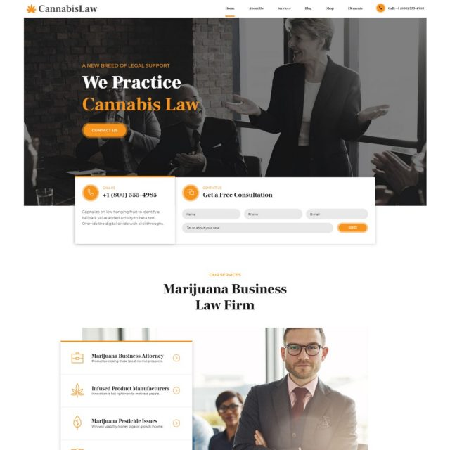 MediGreen WordPress theme for cannabis and medical marijuana homepage preview