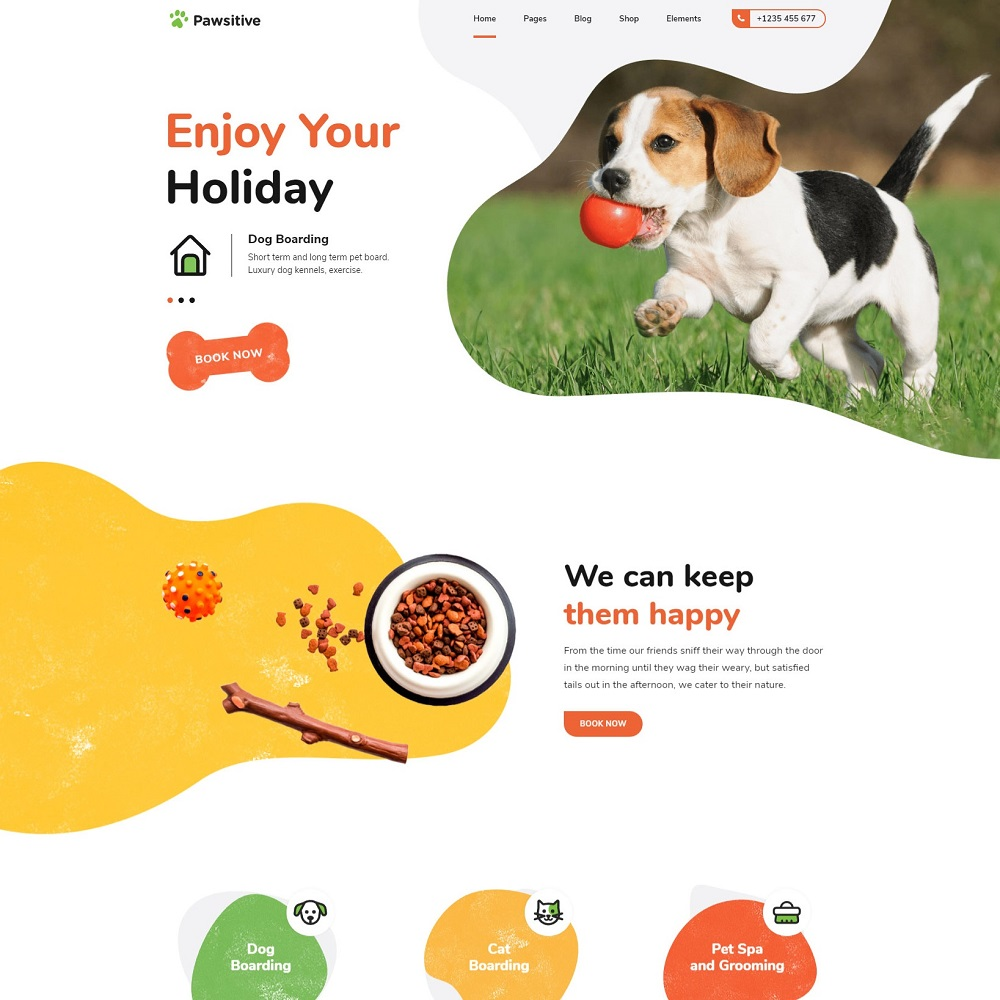 pawsitive wordpress theme for pet business home 1