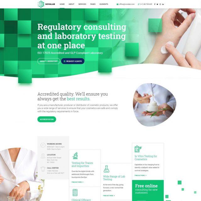 novalab wordpress theme laboratory research cosmetics